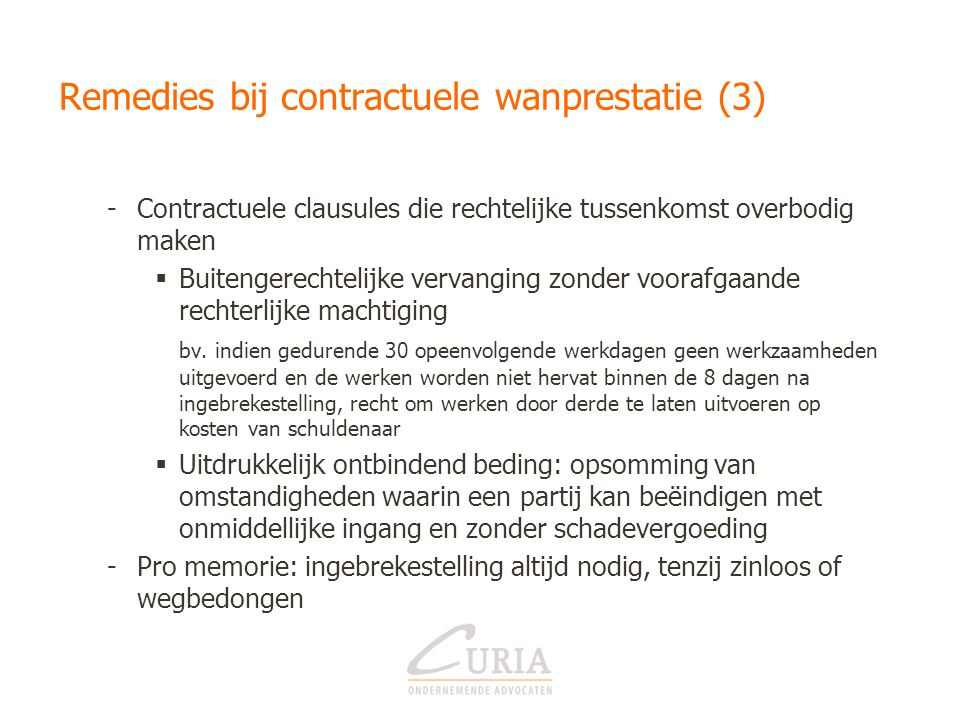 Remedies bij contractuele wanprestatie (3)