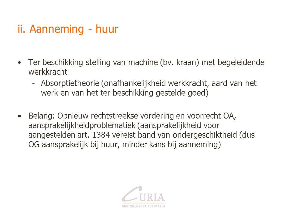 ii. Aanneming - huur Ter beschikking stelling van machine (bv. kraan) met begeleidende werkkracht.