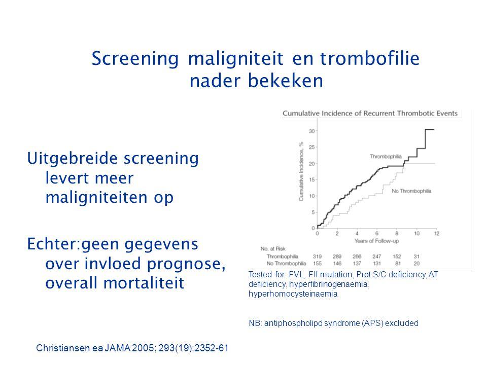 Screening maligniteit en trombofilie nader bekeken
