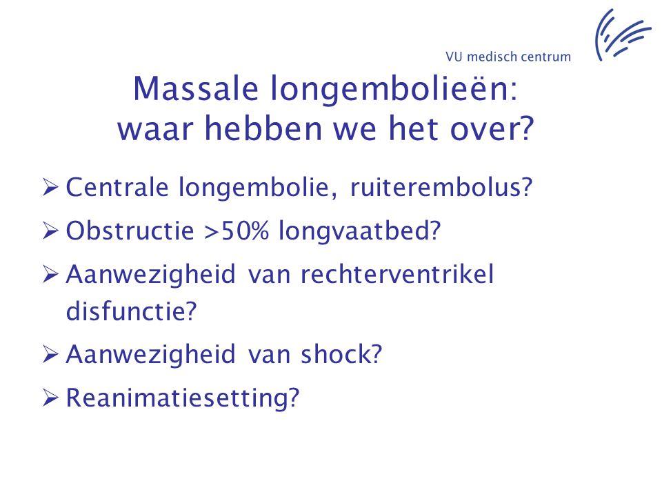 Massale longembolieën: waar hebben we het over