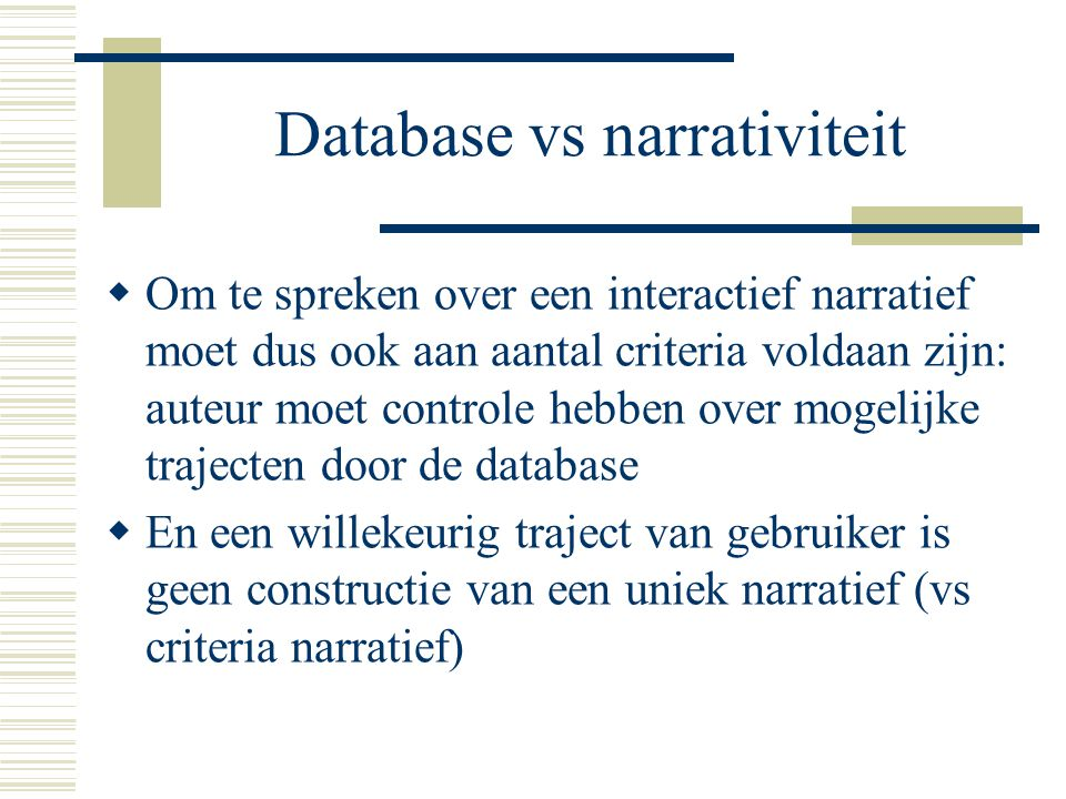 Database vs narrativiteit