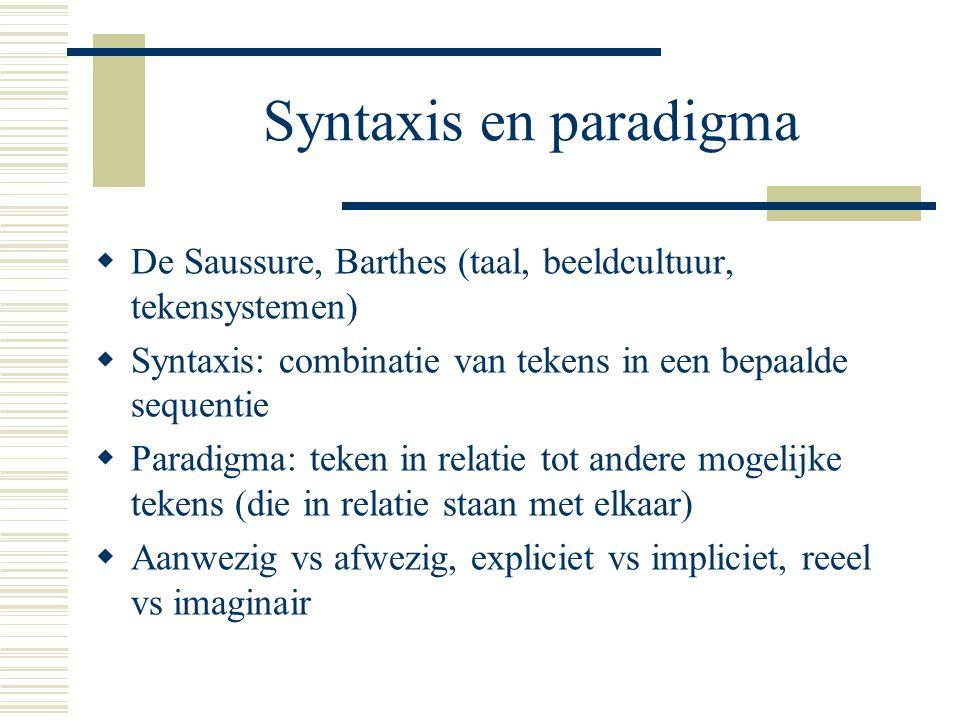 Syntaxis en paradigma De Saussure, Barthes (taal, beeldcultuur, tekensystemen) Syntaxis: combinatie van tekens in een bepaalde sequentie.
