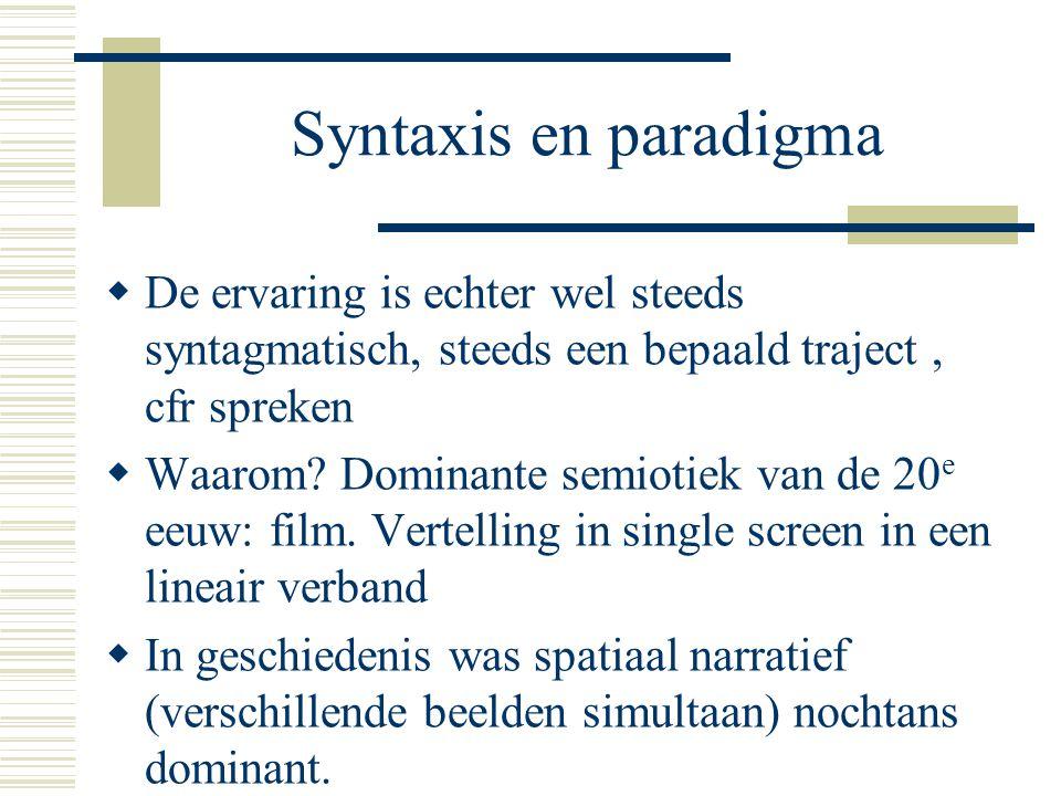 Syntaxis en paradigma De ervaring is echter wel steeds syntagmatisch, steeds een bepaald traject , cfr spreken.
