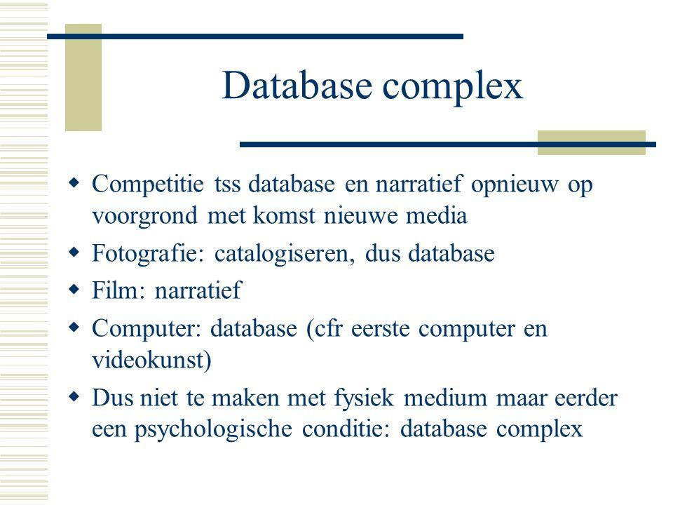 Database complex Competitie tss database en narratief opnieuw op voorgrond met komst nieuwe media. Fotografie: catalogiseren, dus database.