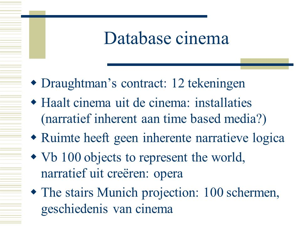 Database cinema Draughtman's contract: 12 tekeningen