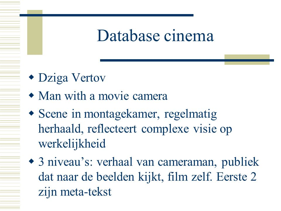 Database cinema Dziga Vertov Man with a movie camera
