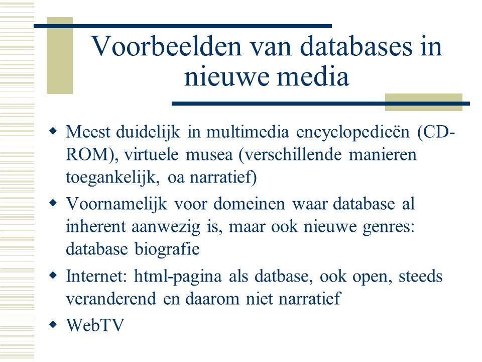 Voorbeelden van databases in nieuwe media
