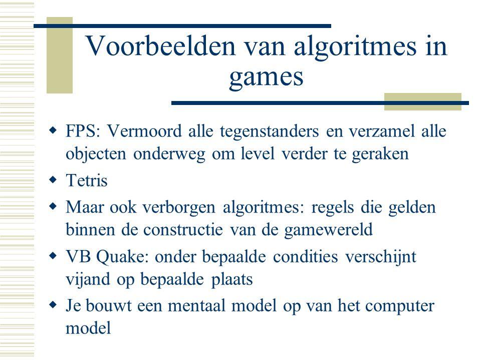 Voorbeelden van algoritmes in games