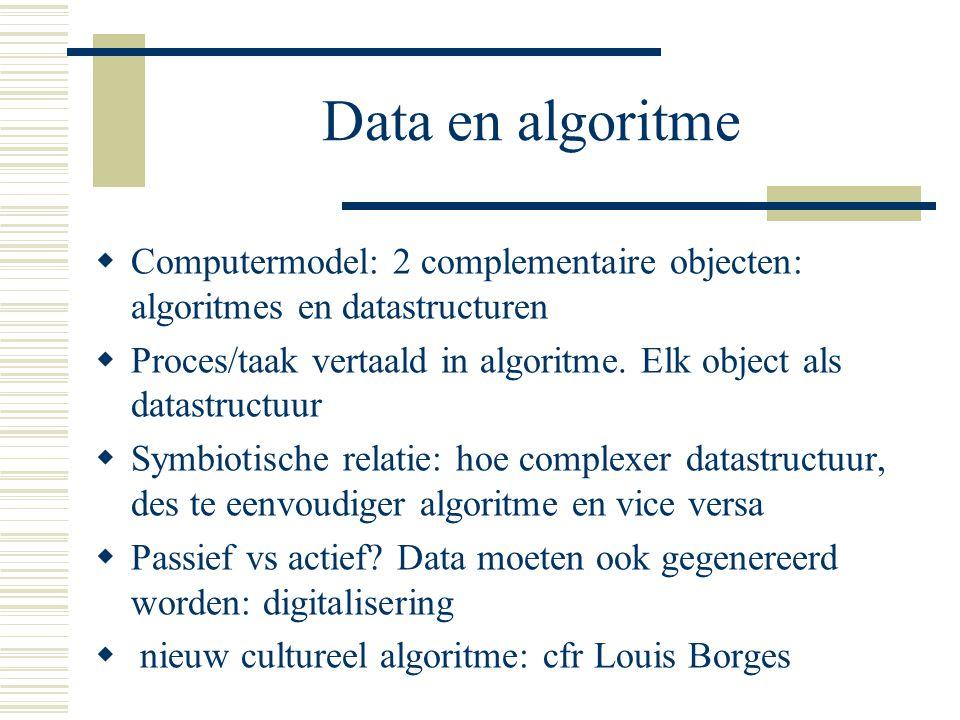 Data en algoritme Computermodel: 2 complementaire objecten: algoritmes en datastructuren.