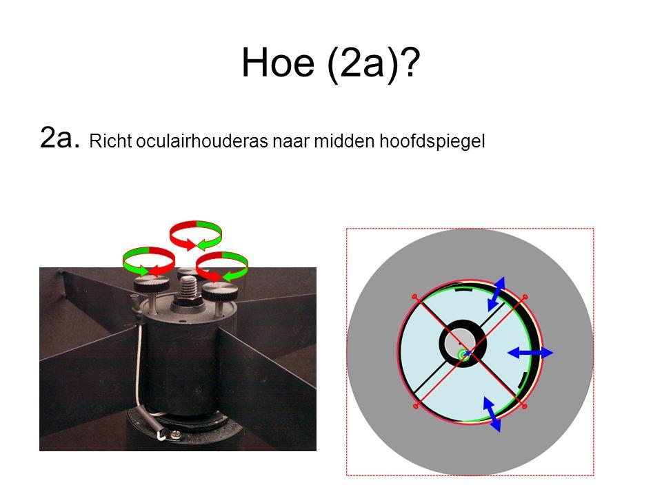 Hoe (2a) 2a. Richt oculairhouderas naar midden hoofdspiegel