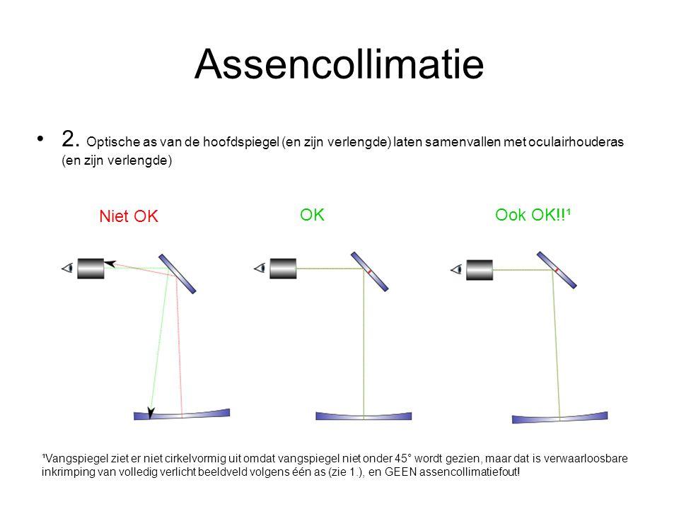 Assencollimatie 2. Optische as van de hoofdspiegel (en zijn verlengde) laten samenvallen met oculairhouderas (en zijn verlengde)