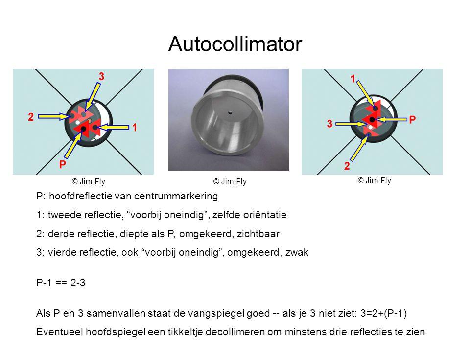 Autocollimator P: hoofdreflectie van centrummarkering