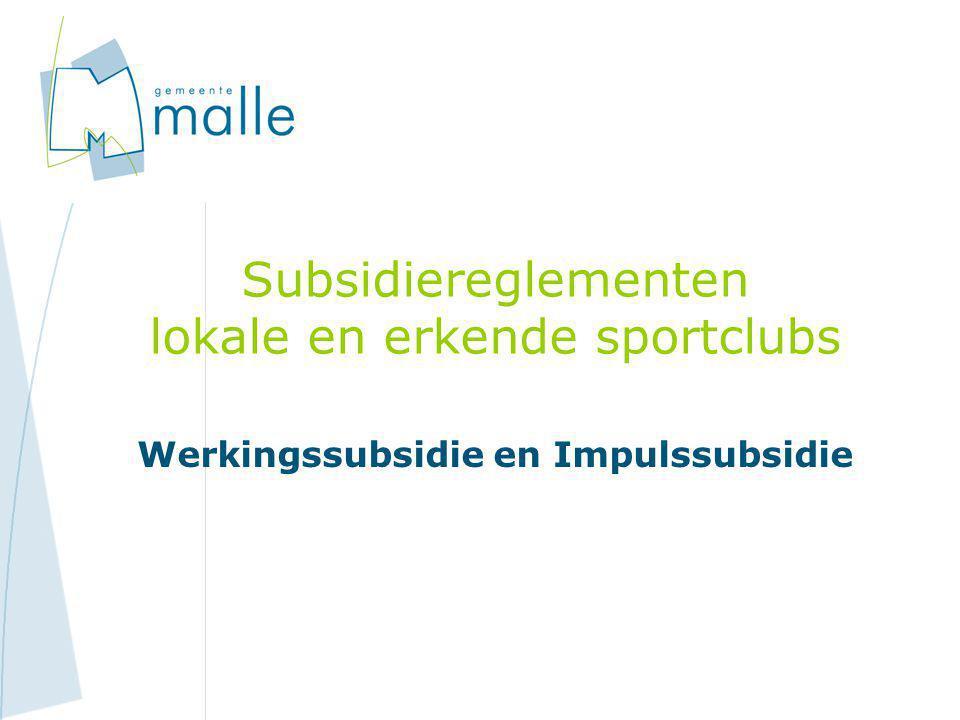 Subsidiereglementen lokale en erkende sportclubs