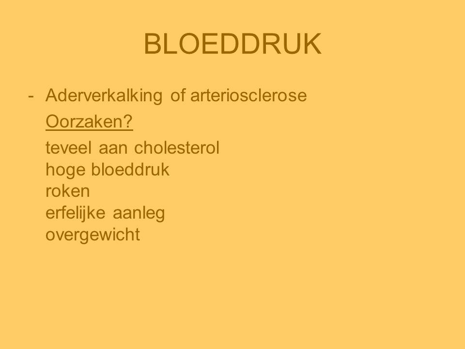 BLOEDDRUK Aderverkalking of arteriosclerose Oorzaken