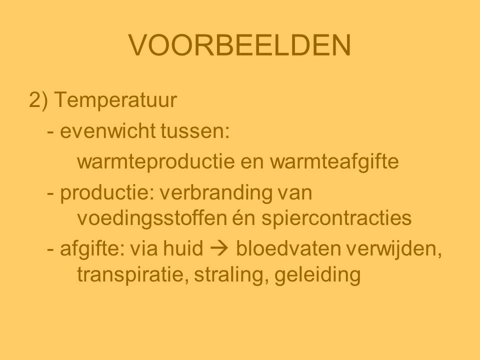 VOORBEELDEN 2) Temperatuur - evenwicht tussen: