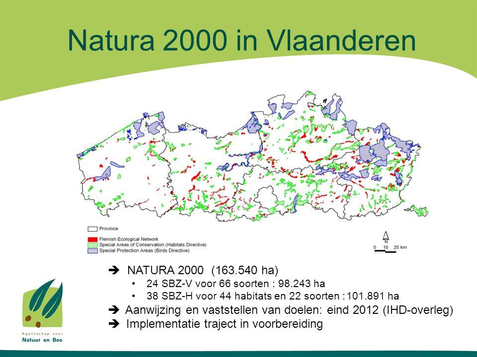 Natura 2000 in Vlaanderen  NATURA 2000 (163.540 ha)