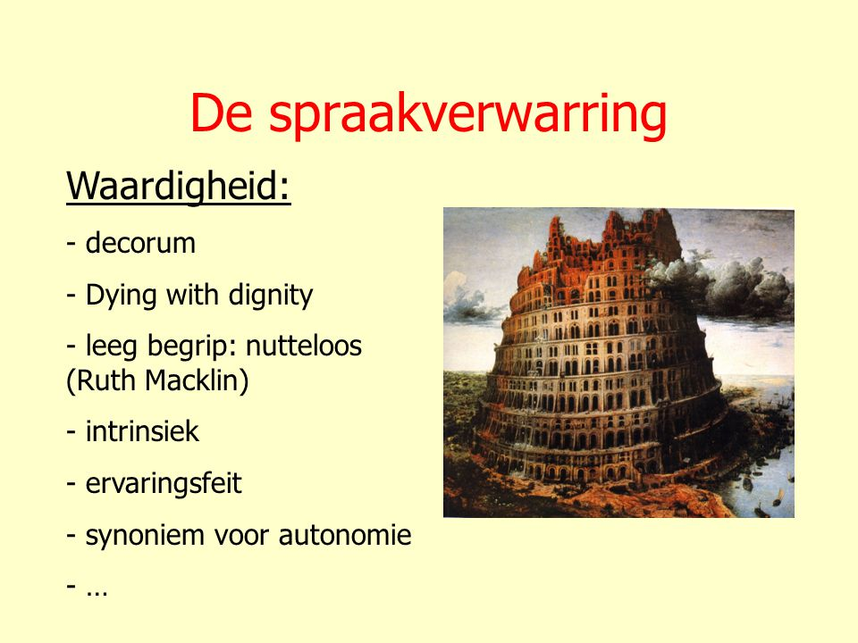 De spraakverwarring Waardigheid: decorum Dying with dignity