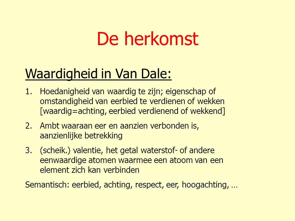 De herkomst Waardigheid in Van Dale: