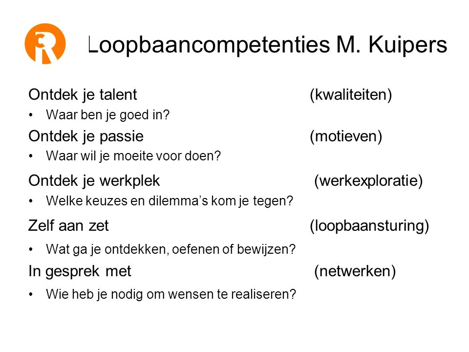 Loopbaancompetenties M. Kuipers