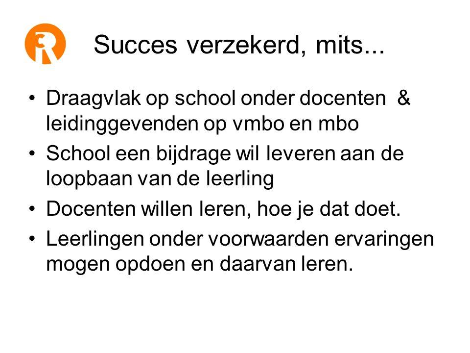 Succes verzekerd, mits... Draagvlak op school onder docenten & leidinggevenden op vmbo en mbo.