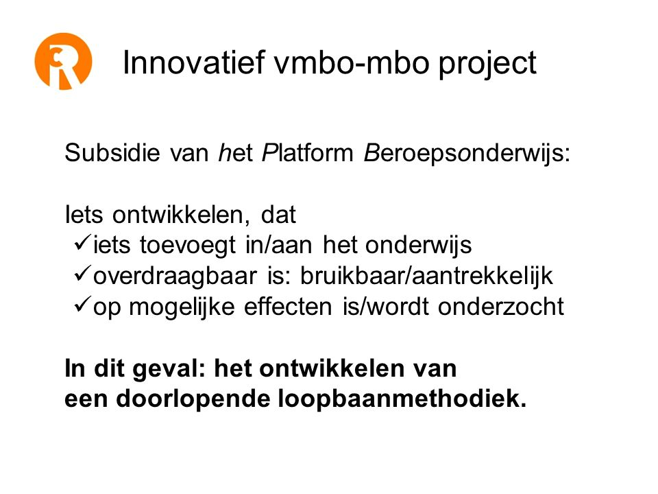 Innovatief vmbo-mbo project