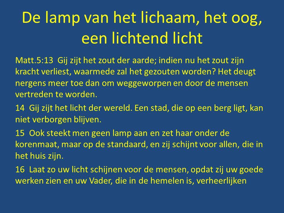 De lamp van het lichaam, het oog, een lichtend licht