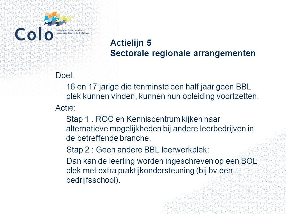 Actielijn 5 Sectorale regionale arrangementen