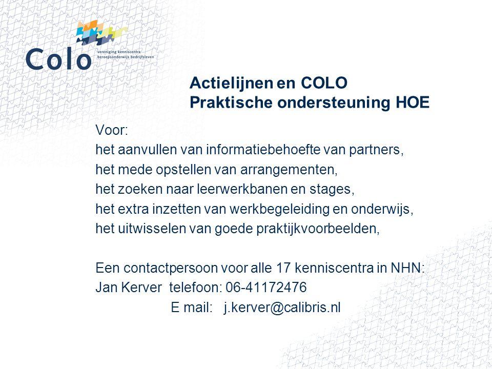 Actielijnen en COLO Praktische ondersteuning HOE