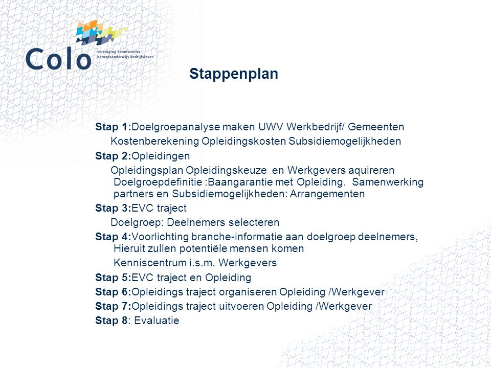 Stappenplan Stap 1:Doelgroepanalyse maken UWV Werkbedrijf/ Gemeenten