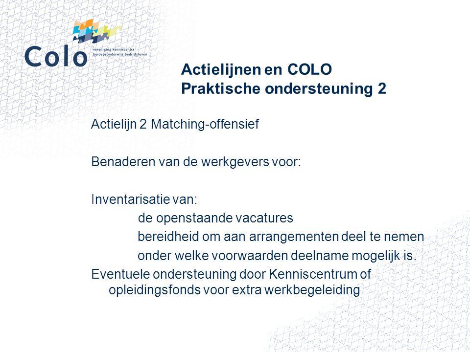 Actielijnen en COLO Praktische ondersteuning 2