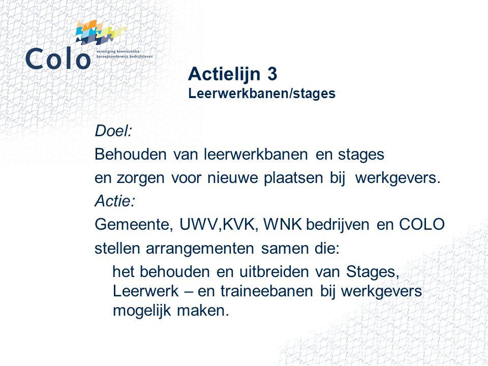 Actielijn 3 Leerwerkbanen/stages