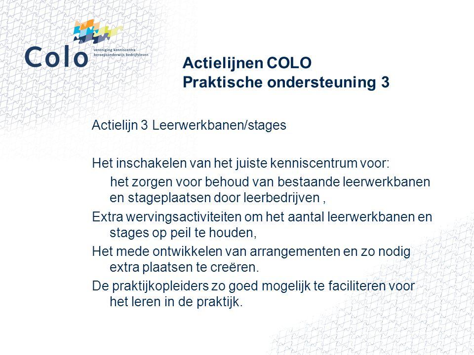 Actielijnen COLO Praktische ondersteuning 3