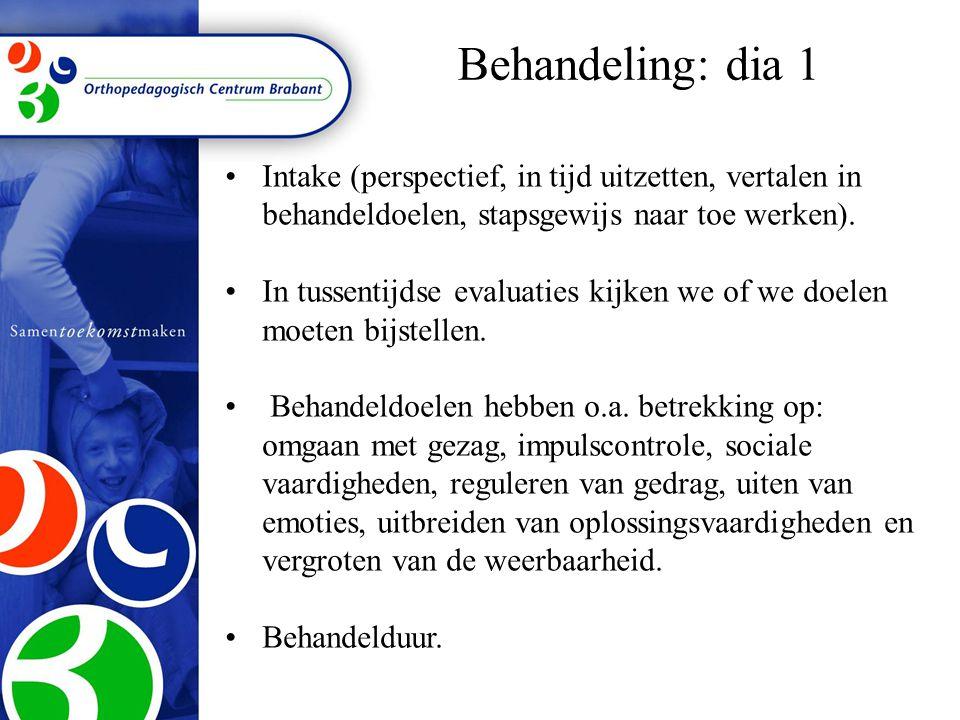 Behandeling: dia 1 Intake (perspectief, in tijd uitzetten, vertalen in behandeldoelen, stapsgewijs naar toe werken).