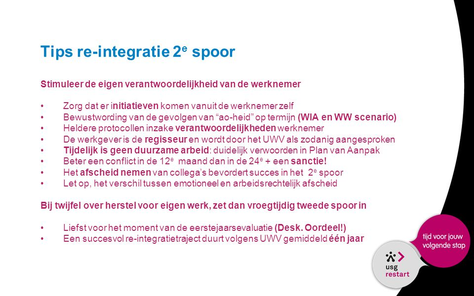 Tips re-integratie 2e spoor