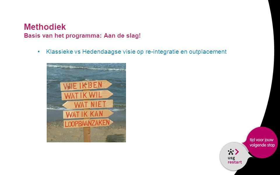 Methodiek Basis van het programma: Aan de slag!