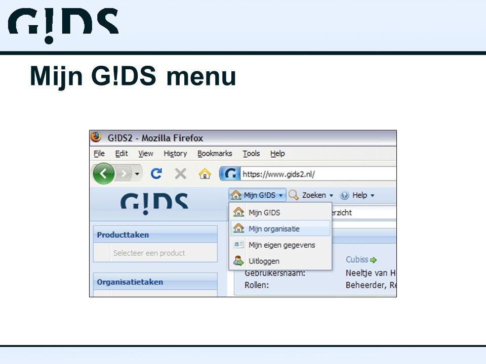 Mijn G!DS menu