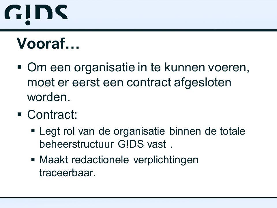 Vooraf… Om een organisatie in te kunnen voeren, moet er eerst een contract afgesloten worden. Contract: