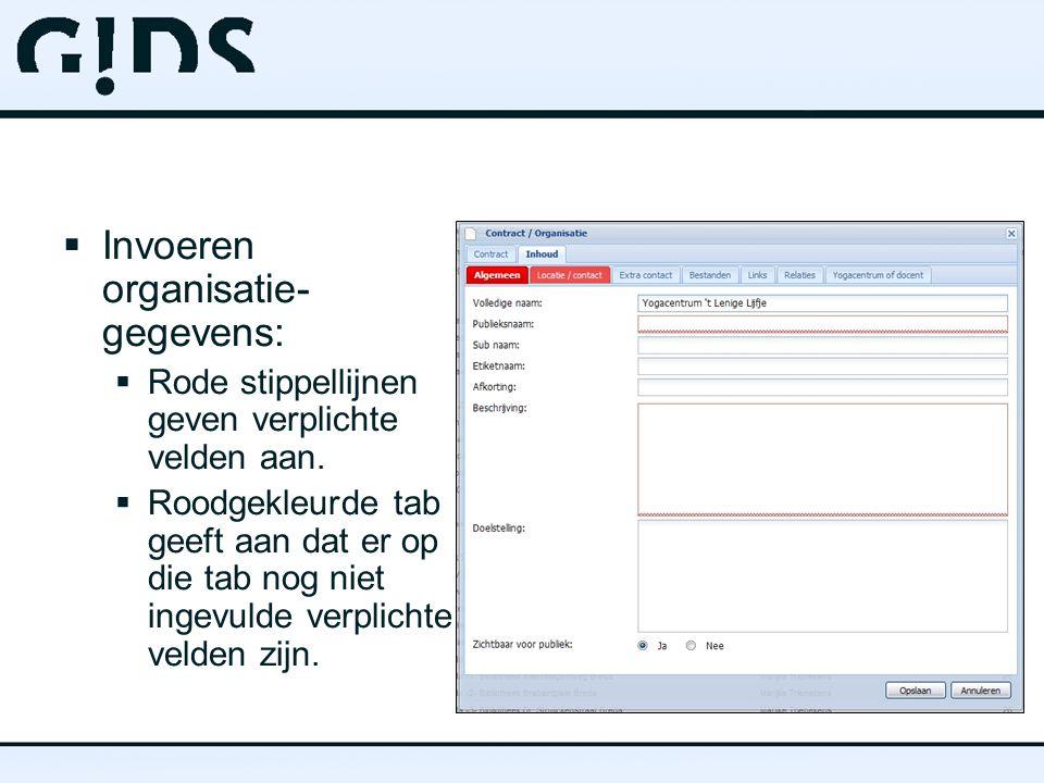 Invoeren organisatie-gegevens: