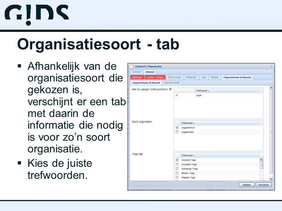 Organisatiesoort - tab