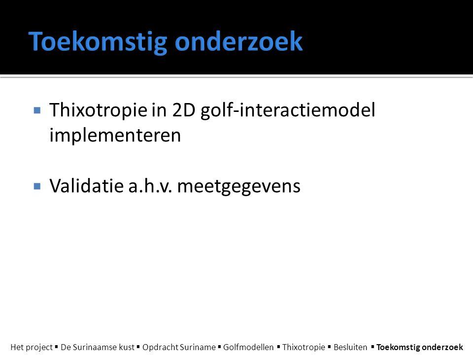 Toekomstig onderzoek Thixotropie in 2D golf-interactiemodel implementeren. Validatie a.h.v. meetgegevens.