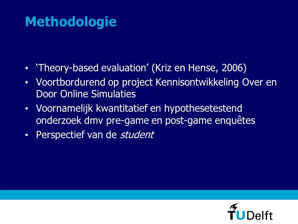 Methodologie 'Theory-based evaluation' (Kriz en Hense, 2006)