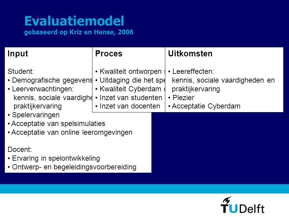 Evaluatiemodel gebaseerd op Kriz en Hense, 2006