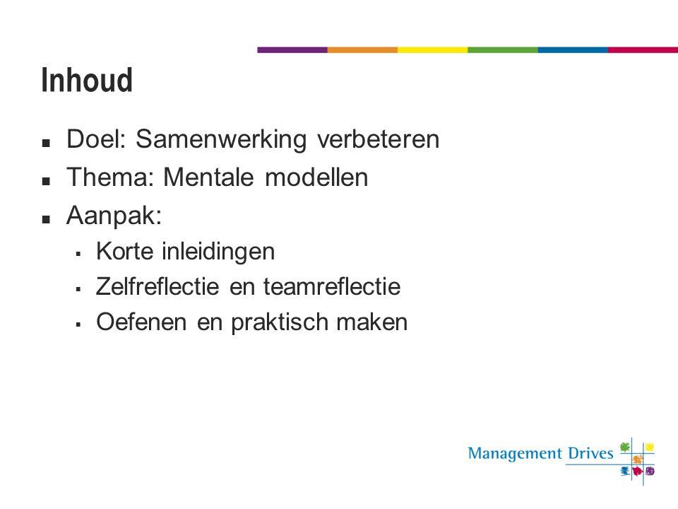 Inhoud Doel: Samenwerking verbeteren Thema: Mentale modellen Aanpak: