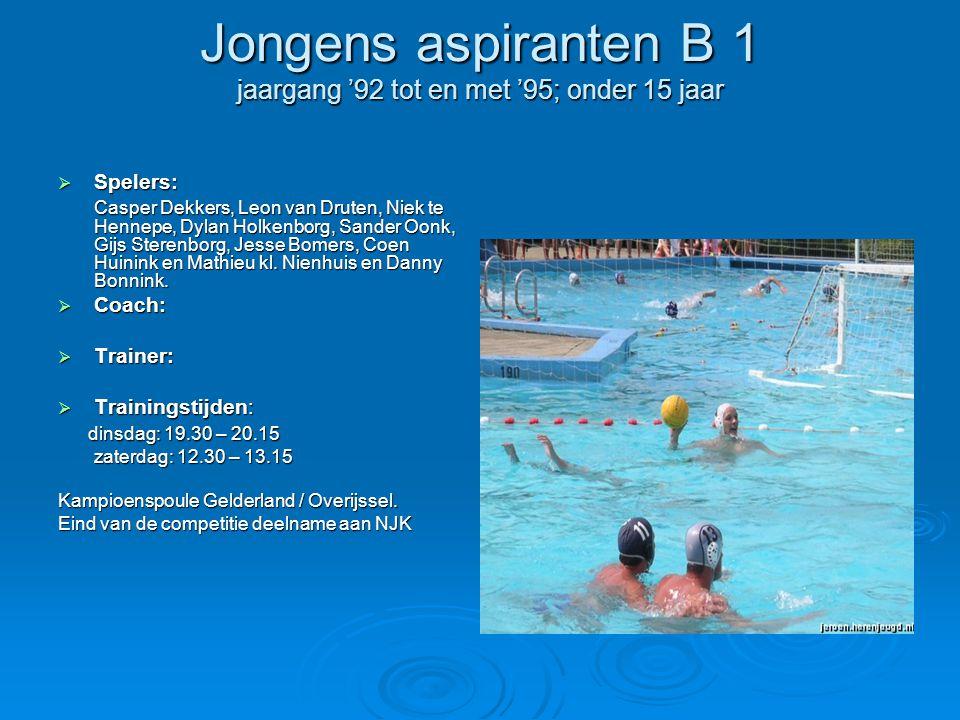 Jongens aspiranten B 1 jaargang '92 tot en met '95; onder 15 jaar