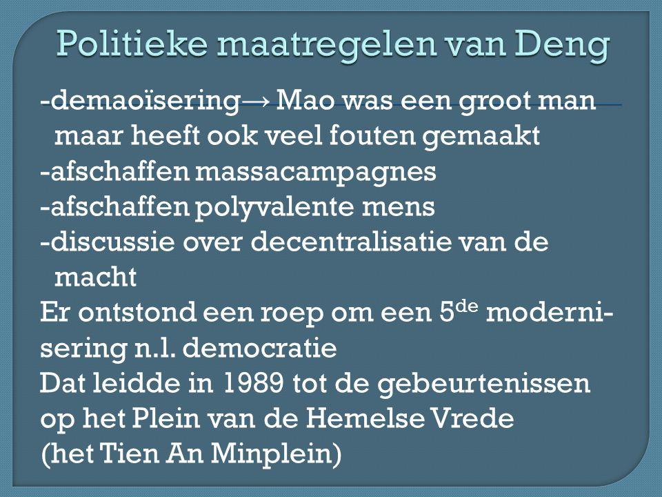 Politieke maatregelen van Deng