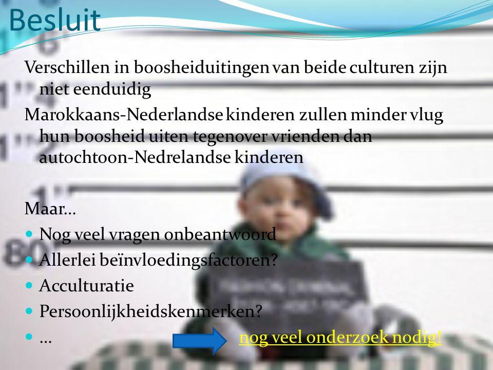 Besluit Verschillen in boosheiduitingen van beide culturen zijn niet eenduidig.