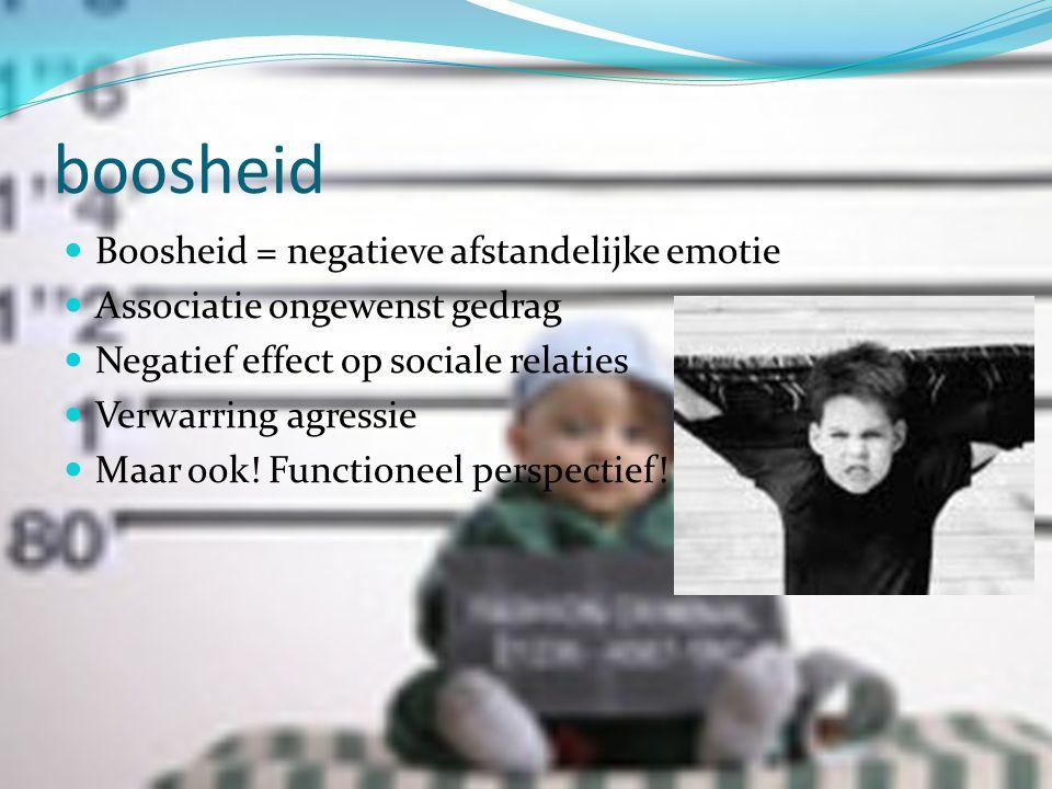 boosheid Boosheid = negatieve afstandelijke emotie