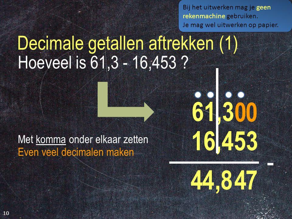 Decimale getallen aftrekken (1)