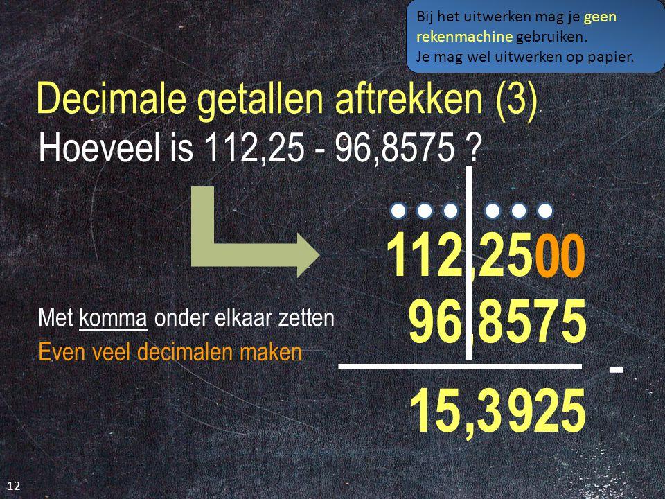 Decimale getallen aftrekken (3)