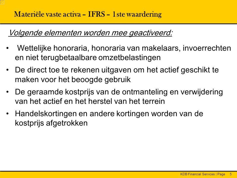 Materiële vaste activa – IFRS – 1ste waardering